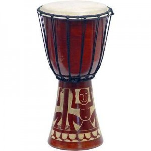 Djembe Drum Carved Red Mahogany Finish - Assorted Designs Majestic Dragonfly Home Decor, Artwork, Unique Decorations