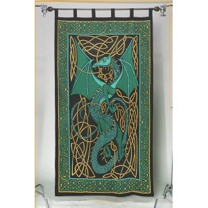 Celtic English Dragon Curtain - Green Majestic Dragonfly Home Decor, Artwork, Unique Decorations