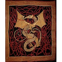 Celtic English Dragon Tapestry - Full Size Red