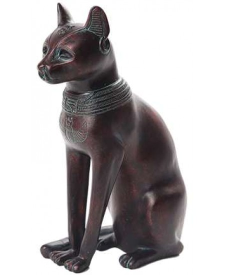 Bastet Egyptian Cat Goddess Antique Bronze Finish Small Statue at Majestic Dragonfly, Home Decor, Artwork, Unique Decorations