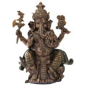 Seated Ganesha Hindu God Bronze 8 Inch Statue Majestic Dragonfly Home Decor, Artwork, Unique Decorations