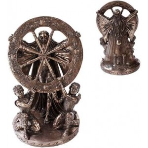 Arianrhod Wheel of the Year Bronze Statue Majestic Dragonfly Home Decor, Artwork, Unique Decorations