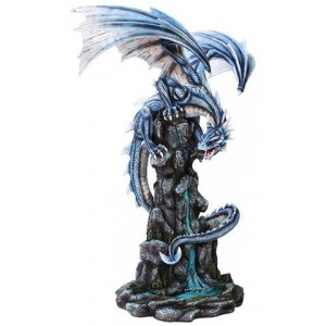 Blue Winged Dragon Mountain Statue Majestic Dragonfly Home Decor, Artwork, Unique Decorations