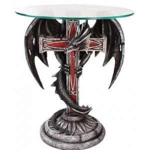 Dragon Cross Glass Top Accent Table Majestic Dragonfly Home Decor, Artwork, Unique Decorations