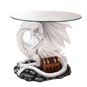 Dragon Treasure Glass Top Accent Table Majestic Dragonfly Home Decor, Artwork, Unique Decorations