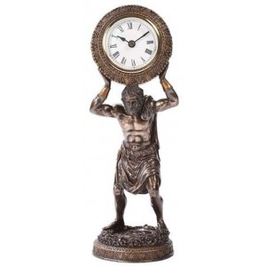 Atlas Holding the World Table Clock Majestic Dragonfly Home Decor, Artwork, Unique Decorations