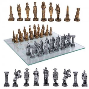 Egypt Vs Rome Chess Set with Glass Board Majestic Dragonfly Home Decor, Artwork, Unique Decorations