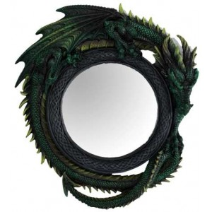 Green Dragon Wall Mirror Majestic Dragonfly Home Decor, Artwork, Unique Decorations