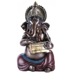 Ganesha with Treasure Chest Small Bronze Resin Statue Majestic Dragonfly Home Decor, Artwork, Unique Decorations
