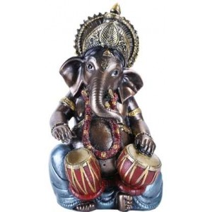 Ganesha with Drums Small Bronze Resin Statue Majestic Dragonfly Home Decor, Artwork, Unique Decorations