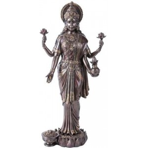 Lakshmi Hindu Goddess of Luck and Wealth Bronze Resin Statue Majestic Dragonfly Home Decor, Artwork, Unique Decorations