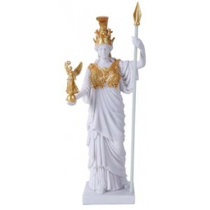 Athena, Greek Goddess of War White and Gold Statue Majestic Dragonfly Home Decor, Artwork, Unique Decorations