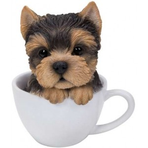 Yorkie Teacup Pups Dog Statue Majestic Dragonfly Home Decor, Artwork, Unique Decorations