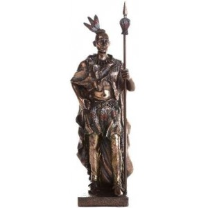 Indian Warrior with Spear Statue Majestic Dragonfly Home Decor, Artwork, Unique Decorations