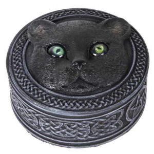 Black Cat Trinket Box with Rolling Eyes Majestic Dragonfly Home Decor, Artwork, Unique Decorations