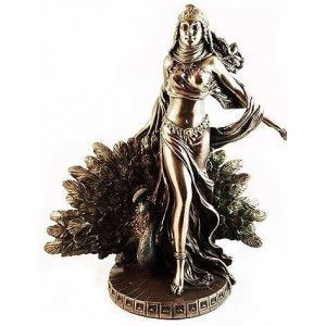Hera Queen of the Greek Gods Statue with Peacock Majestic Dragonfly Home Decor, Artwork, Unique Decorations