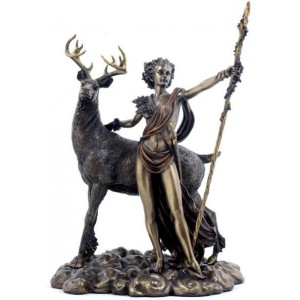 Diana Artemis Greek Goddess of the Hunt Statue with Deer Majestic Dragonfly Home Decor, Artwork, Unique Decorations
