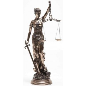 Lady Justice 31 Inch Statue in Bronze Resin Majestic Dragonfly Home Decor, Artwork, Unique Decorations