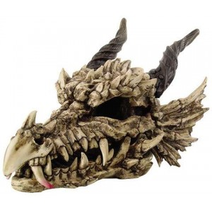 Dragon Skull Large Bone Resin Statue Majestic Dragonfly Home Decor, Artwork, Unique Decorations