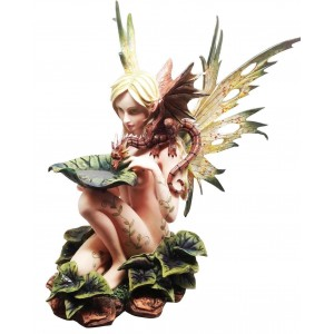 Forest Fairy with Baby Dragon Statue Majestic Dragonfly Home Decor, Artwork, Unique Decorations