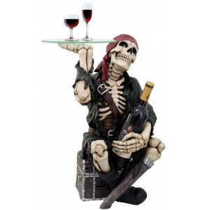 Pirate Skeleton Glass Top Accent Table and Wine Holder Majestic Dragonfly Home Decor, Artwork, Unique Decorations