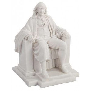 Benjamin Franklin White Marble Statue Majestic Dragonfly Home Decor, Artwork, Unique Decorations