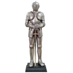 Knight with Sword Lifesize Suit of Armor Statue Majestic Dragonfly Home Decor, Artwork, Unique Decorations