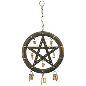 Pentacle Wind Chime with Bells Majestic Dragonfly Home Decor, Artwork, Unique Decorations