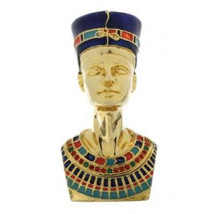 Nefertiti Egyptian Queen Gold Plated Jeweled Box Majestic Dragonfly Home Decor, Artwork, Unique Decorations