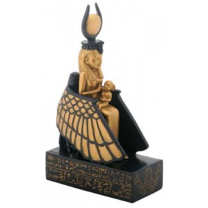 Isis Nursing Horus in Winged Throne Statue Majestic Dragonfly Home Decor, Artwork, Unique Decorations