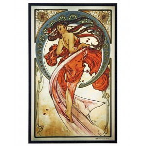 Arts Dance Alphonse Mucha Stained Glass Art Panel Majestic Dragonfly Home Decor, Artwork, Unique Decorations