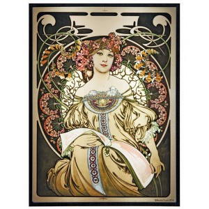 Reverie Alphonse Mucha Stained Glass Art Panel Majestic Dragonfly Home Decor, Artwork, Unique Decorations