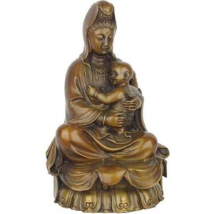 Kuan-Yin with Baby Small Bronze Statue Majestic Dragonfly Home Decor, Artwork, Unique Decorations
