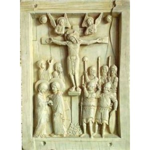 Byzantine Crucifixion Tablet Stone Relief Plaque Majestic Dragonfly Home Decor, Artwork, Unique Decorations