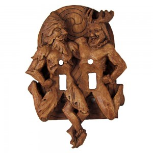 Green Man and Horned God Double Switchplate Majestic Dragonfly Home Decor, Artwork, Unique Decorations