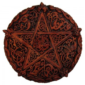 Celtic Knotwork Pentacle Wood Finish Plaque - 5 Inches Majestic Dragonfly Home Decor, Artwork, Unique Decorations