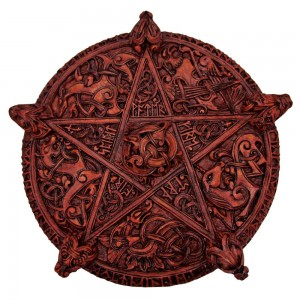 Knotwork Pentacle Large Wood Finish Plaque Majestic Dragonfly Home Decor, Artwork, Unique Decorations