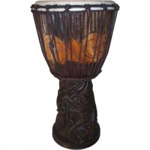 Dragon Carved Adjustable Djembe Drum Majestic Dragonfly Home Decor, Artwork, Unique Decorations