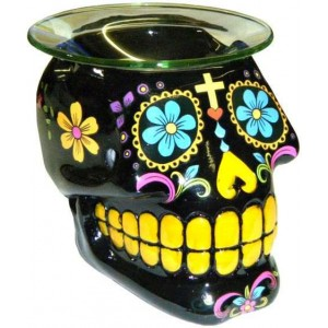 Black Sugar Skull Oil Burner Majestic Dragonfly Home Decor, Artwork, Unique Decorations