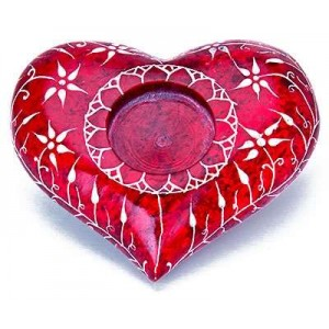 Red Heart Soapstone Candle Holder