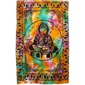 Buddha Tie Dye Full Size Cotton Tapestry Majestic Dragonfly Home Decor, Artwork, Unique Decorations