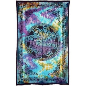 Celtic Knot Multi-Color Tie Dye Cotton Full Size Tapestry Majestic Dragonfly Home Decor, Artwork, Unique Decorations