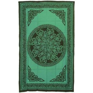 Celtic Knot Green Cotton Full Size Tapestry Majestic Dragonfly Home Decor, Artwork, Unique Decorations