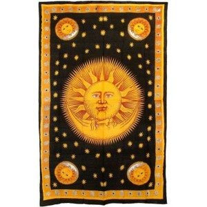 Solar Eclipse Gold Tapestry Bedspread Majestic Dragonfly Home Decor, Artwork, Unique Decorations