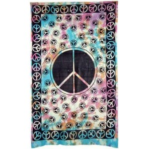 Peace Sign Tie Dye Cotton Full Size Tapestry Majestic Dragonfly Home Decor, Artwork, Unique Decorations