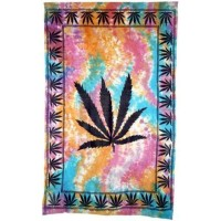 Hemp Leaf Tie Dye Cotton Full Size Tapestry