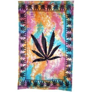 Hemp Leaf Tie Dye Cotton Full Size Tapestry Majestic Dragonfly Home Decor, Artwork, Unique Decorations