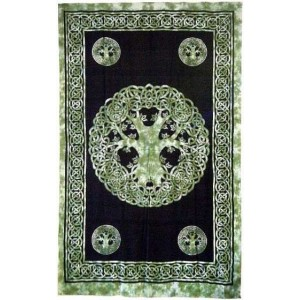 Green Tree of Life Celtic Cotton Full Size Tapestry Majestic Dragonfly Home Decor, Artwork, Unique Decorations