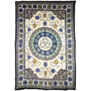 Floral Triquetra Charmed Cotton Full Size Tapestry Majestic Dragonfly Home Decor, Artwork, Unique Decorations