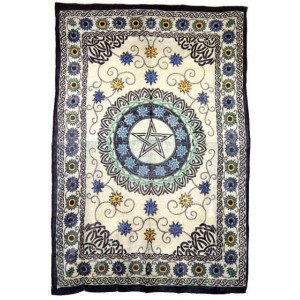 Floral Pentacle Cotton Full Size Tapestry Majestic Dragonfly Home Decor, Artwork, Unique Decorations